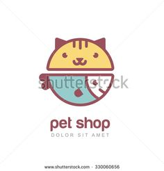 Week 2: Flat style vector colorful illustration of funny muzzle of cat and smiling fish. Logo icon design template. Abstract concept for pet shop or veterinary.