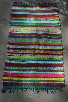 Handwoven Upcycled Tshirt Rag Rug Multicolored 1 by PinwheelAnna