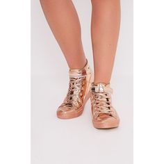 Oona Rose Gold Metallic High Top Sneakers-8 ($27) ❤ liked on Polyvore featuring shoes, sneakers, pink, lace sneakers, platform sneakers, high top shoes, metallic gold sneakers and sports trainer