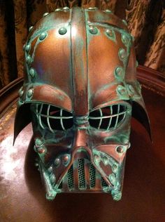 Looking like an early 1800s artifact found at low tide, the copper Darth Vader mask and helmet project is finally complete. - Star Wars