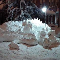 Giant Snow Dragon Sculpture
