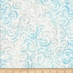 Wilmington Batiks Curlicues White/Blue from @fabricdotcom  Designed for Wilmington Prints, this Indonesian batik fabric is perfect for quilting, apparel and home decor accents. Colors include shades of blue and cream.
