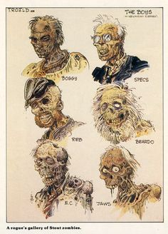 Zombie Designs For RETURN OF THE LIVING DEAD; WILLIAM STOUT