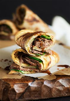 Taiwanese Beef Stuffed Scallion Pancakes - Crispy flaky chewy scallion pancake, fresh crunchy cucumber & a warm melt in the mouth tender beef with a sweet & savory sauce all throughout. Asian Recipes, Beef Recipes, Cooking Recipes, Ethnic Recipes, Pancake Recipes, Waffle Recipes, Healthy Recipes, Simple Recipes, Shrimp Recipes