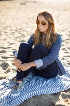 On Julia: Gap Blazer, Gap Sweater, James Jeans, Sperry Top-Sider Sneakers, Ray Ban Sunglasses On Thomas: J.Crew Shirt, 1901 Sweater, J.Crew Shorts, Sperry Top-Sider Boat Shoes, Warby Parker Sunglasses