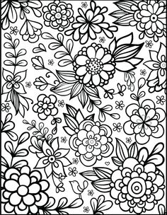 free floral printable coloring page from filthy muggle - Flower Printable Coloring Pages