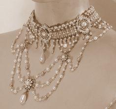 Bridal Wedding Jewelry My Vintage Style Jewelry Victorian choker bib necklace - My Vintage Style Jewelry Victorian choker bib necklace Cute Jewelry, Pearl Jewelry, Body Jewelry, Wedding Jewelry, Beaded Jewelry, Jewelry Accessories, Handmade Jewelry, Jewelry Design, Pearl Choker
