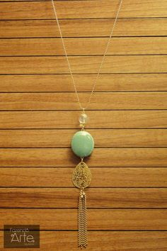 Fazendo Arte Bijuterias - Kit Colar com Pedra Azul, Cristal, Pingente Dourado e Corrente de Bolinha