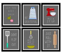 Cute Set of Six Kitchen Digital Art Printables by LeslieLovePrints