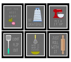 Cute Set of Six Kitchen Digital Art Printables by LeslieLovePrints, $10.00