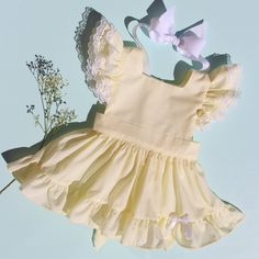 "Lemon Meringue Batiste ""Fern"" Pinafore with Bloomers Vintage baby girl toddler inspired reproduction chiffon lawn lace ruffle cupcake poodle circle skirt Sunshine clothing handmade heirloom 1950 retro keepsake"