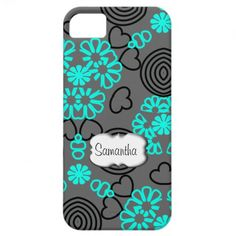 Teal Black Grey Flowers Hearts Pattern Personalize iPhone 5 Cases
