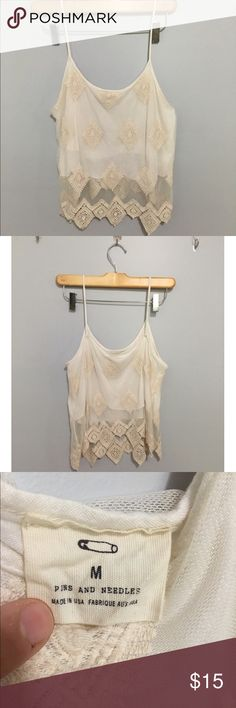 White Boho Lace Tank Top Great condition Urban Outfitters Tops Tank Tops