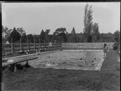 Photograph taken by the Steffano Webb Photographic Studio, Christchurch, New Zealand.  Swimming Pool.