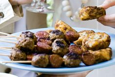 Barbecued Meatball and chorizo skewers