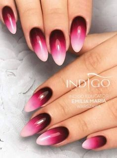 Żele Arte Brillante: Beautiful Monster Merlot Black Poison + X - White & Gel Polish Famme Fatale by Indigo Educator Emilia Dąbrowska, Ząbki - Indigo Nails Lab. Black Ombre Nails, Gradient Nails, Pink Nails, Perfect Nails, Gorgeous Nails, Cute Nails, Pretty Nails, Exotic Nails, Indigo Nails