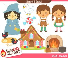 INSTANT DOWNLOAD - Hansel and Gretel Combo Set - Color Clip Art and Digital Stamps - for personal and commercial use
