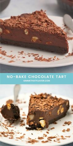 Easy Baking Recipes, Easy Cake Recipes, Sweet Recipes, Snack Recipes, Chocolate Dishes, No Bake Chocolate Cake, Chocolate Biscuit Cake, Chocolate Ganache Tart, Vegan Chocolate