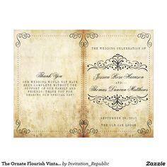 Rustic Regal Ornamental Brown And Gold Wedding Flyer  Wedding