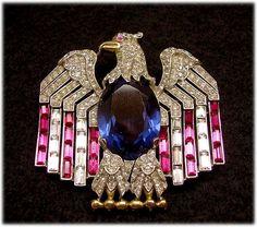 TRIFARI  Patriotic American Eagle Pin, c. 1940