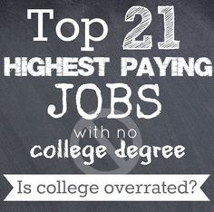 No college degree? No problem! Here's the top 21 paying jobs with no college degree required.