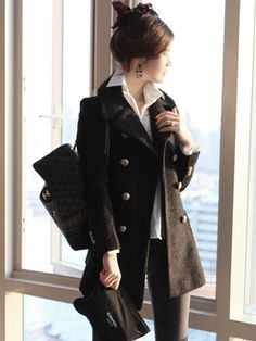 Double Breasted Lapel Slim Solid Long Coat