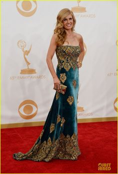 Connie Britton - wearing a Naeem Kahn dress, Jimmy Choo shoes, Cathy Waterman jewels, and carrying a Stuart Weitzman bag