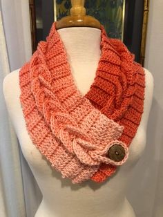 Braided cowl scarf are made to order. Takes 2 weeks from order time. Ombré yarns include choice of , coral, blue, taupe Crochet Mitts, Crochet Braids, Crochet Scarves, Crochet Shawl, Crochet Clothes, Easy Crochet, Crochet Stitches, Free Crochet, Knit Crochet