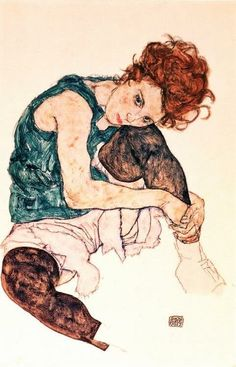 Seated woman with bent knee. Egon Schiele. A favourite of mine.