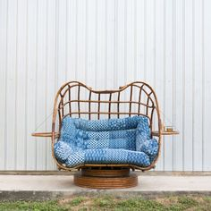 Bohemian Rattan Loveseat with Indian Kantha Quilt Upholstery via Birch & Brass Vintage Rentals for Weddings and Special Events in Austin, Texas