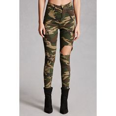 Forever21 Distressed Camo Skinny Jeans ($38) ❤ liked on Polyvore featuring jeans, high rise jeans, denim skinny jeans, high-waisted skinny jeans, high waisted ripped jeans and ripped skinny jeans