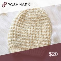 """Winter Beanie This is a NWT crochet beanie in a light cream color with glitter accents. So cute and perfect for the colder months. ⚜Please see my """"reasonable offers"""" listing at the top of my page before submitting an offer⚜Thank you😊 Boutique Accessories Hats"""