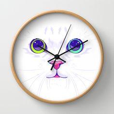White cute cat Wall Clocks