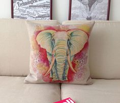 """Linen cotton square decor cushion cover  colorful  Elephants animal printed cushion case / pillow cover / Pillow case 18 """"x18 """""""