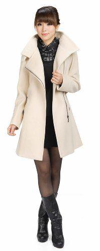 LANHUACAO Woolen Coat with Belt Military Trench Coat Women $64.99 (19% OFF)