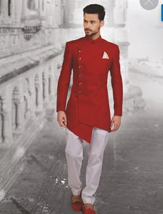 Red asymmetric indowestern. Whatsapp on +91 9013201999 for more details.