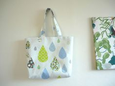Rain drop white large tote bag with zipper beach by malmokkobags, $38.00