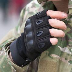 Pair of Stylish Silica Gel Embellished Adjustable Men's Tactical Fingerless Gloves #women, #men, #hats, #watches, #belts