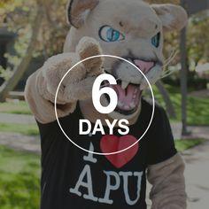 """Grrrr grrrrr rawrrr!"" Translation: Less than a week until you're here!"" #iHeartAPU http://www.apu.edu/cp/countdown/"