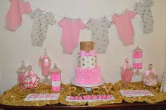 Check out this pink and gold baby shower party! See more party ideas at CatchMyParty.com!