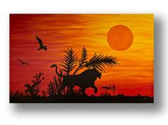 African Lion Sunset painting Large Oil Painting on by StudioKWN