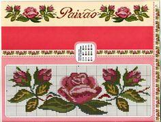 ponto-cruz-flores-cross-stitch-barrado-de-rosas-500x400 78 gráficos de flores em ponto cruz para imprimir