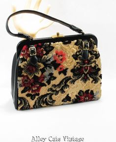 Vintage Handbag 1960s Velvet Tapestry Kadin Purse