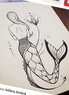 Doodle Art Drawing, Girl Drawing Sketches, Mandala Drawing, Art Drawings Sketches Simple, Pencil Art Drawings, Easy Drawings, Unique Drawings, Beautiful Drawings, Mermaid Drawings