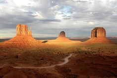 monument-valley-usa-2.jpg     View of West Mitten, East Mitten and Merrick Butte formations at sunset in Monument Valley Tribal Park -- Arizona/Utah