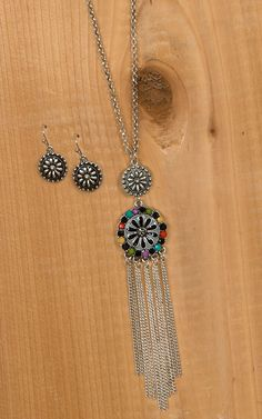 Blazin Roxx Silver Round Pendant with Dangle Chains Necklace & Earrings Jewelry Set 29052   Cavender's