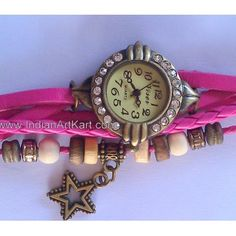 Women's Vintage Leather Watches Pink  colour