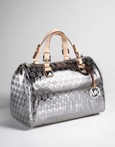 Michael Kors Grayson monogram satchel in Nickel