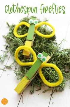 """Fireflies to use for """"Fireflies in a Jar"""" relay game. Adorable clothespin firefly craft for kids! Make these easy clothespin fireflies to celebrate summer. Super cute firefly craft that is fun for all ages. Indoor Activities For Kids, Easy Crafts For Kids, Christmas Crafts For Kids, Summer Crafts, Toddler Crafts, Preschool Crafts, Projects For Kids, Art For Kids, Bug Crafts"""