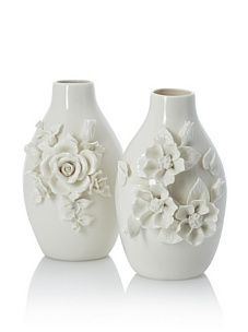Tozai Capo-Di-Monte Rose Porcelain Vases